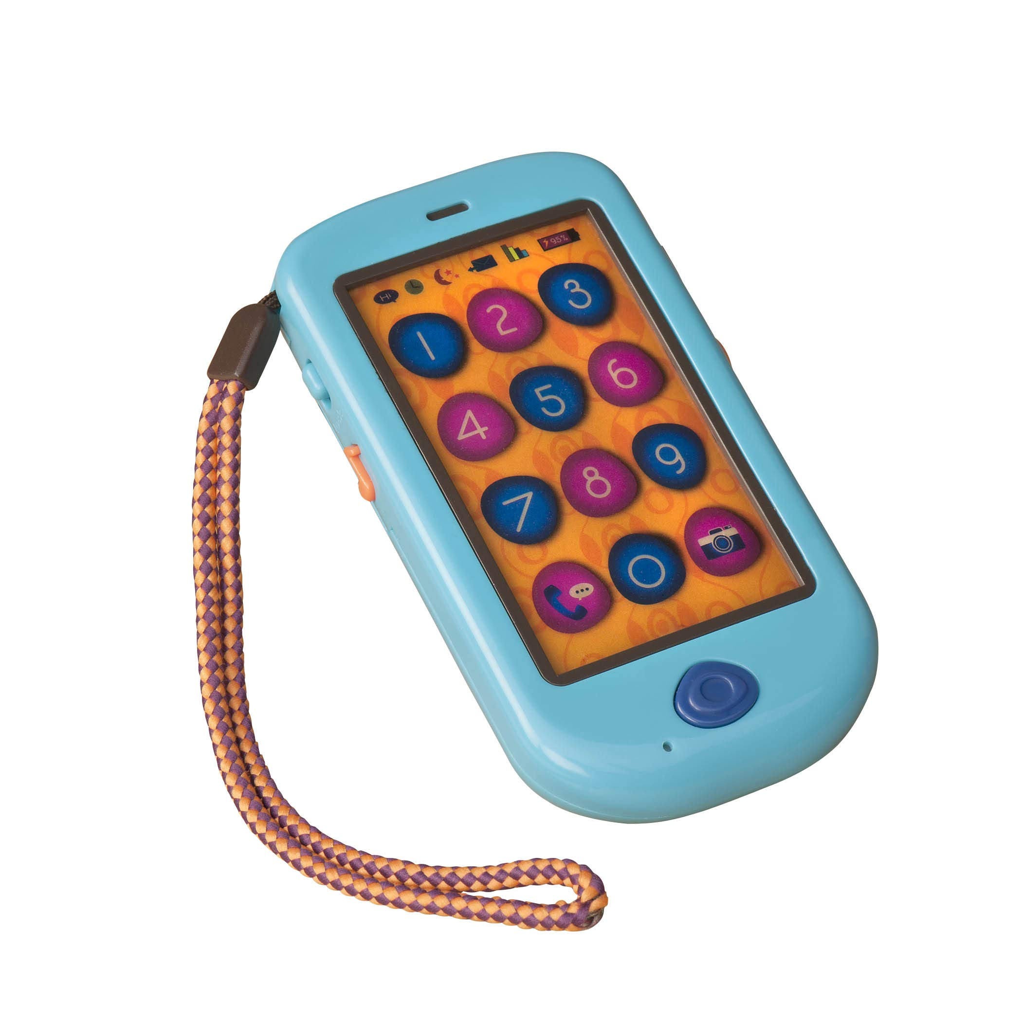 B. Toys - HiPhone Toy Smart Phone - Kids Play Phone with Sounds Music & Voice Messages - Toddler Toy Phone with Message Recorder - Non-Toxic by B. toys by Battat