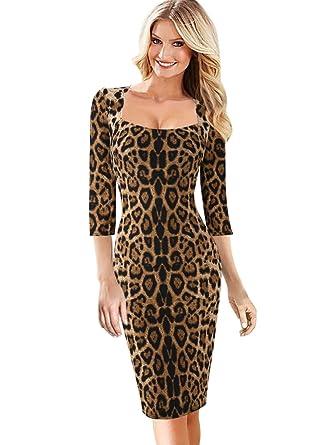 VFSHOW Womens Leopard Print Square Neck Business Cocktail Bodycon Dress  1819 Leo XS 77567c5ea243