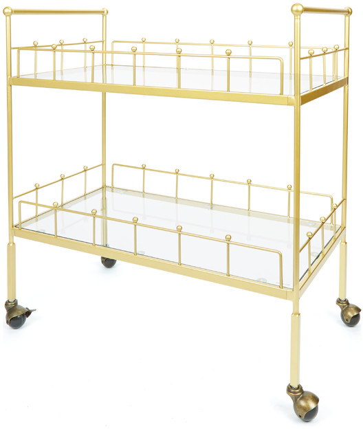 Fitz 2-Tier Rectangular Serving Cart, Gold - Contemporary - Bar Carts - by Silverwood Products