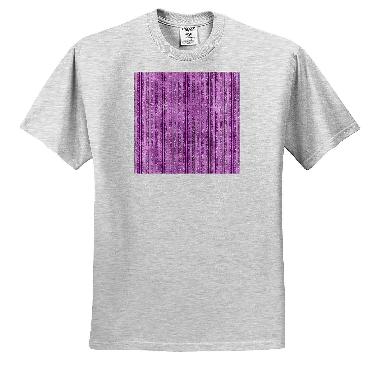 3dRose Anne Marie Baugh ts/_317644 Patterns Adult T-Shirt XL Chic Purple Image of Glitter Stripes Pattern