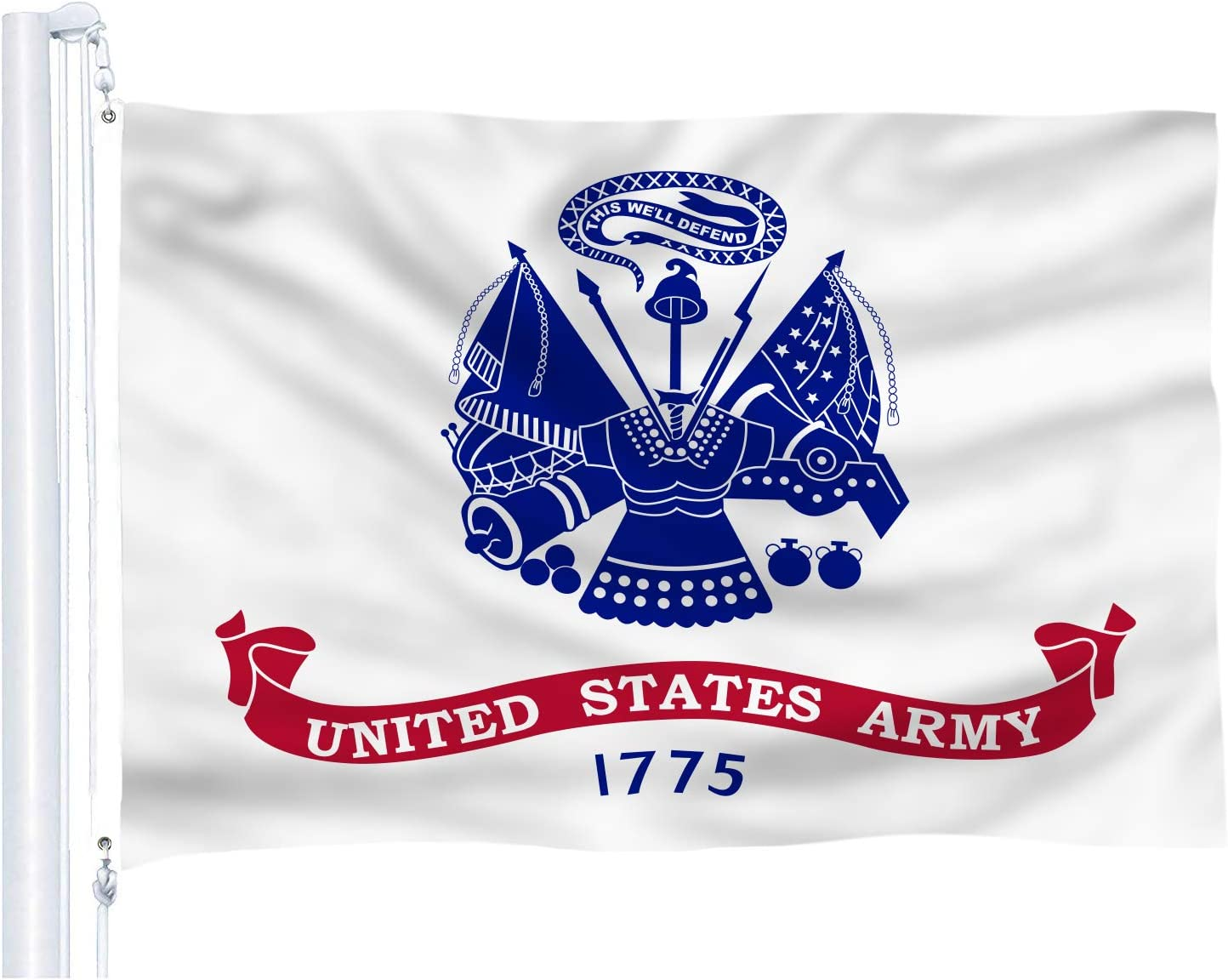 DFLIVE US Army Gold Crest Flag 3x5 ft Printed Polyester Fly United States Military Flag Banner with Brass Grommets