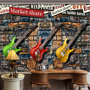 Fondos De Pantalla, Murales, 3D,Guitarra Eléctrica De Piedra Sala De Estar Ktv Hotel Wallpaper, 200Cm (W) X 140Cm (H): Amazon.es: Hogar