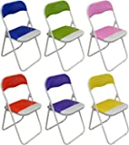 Harbour Housewares Padded, Folding, Desk Chairs - Blue, Green, Pink, Purple, Red, Yellow - Pack of 6