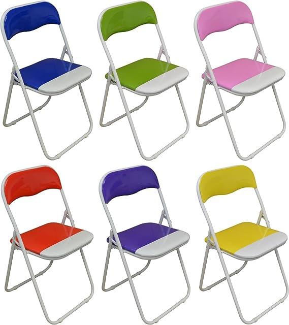 Sillas de escritorio plegable acolchadas - azul, verde, rosa ...
