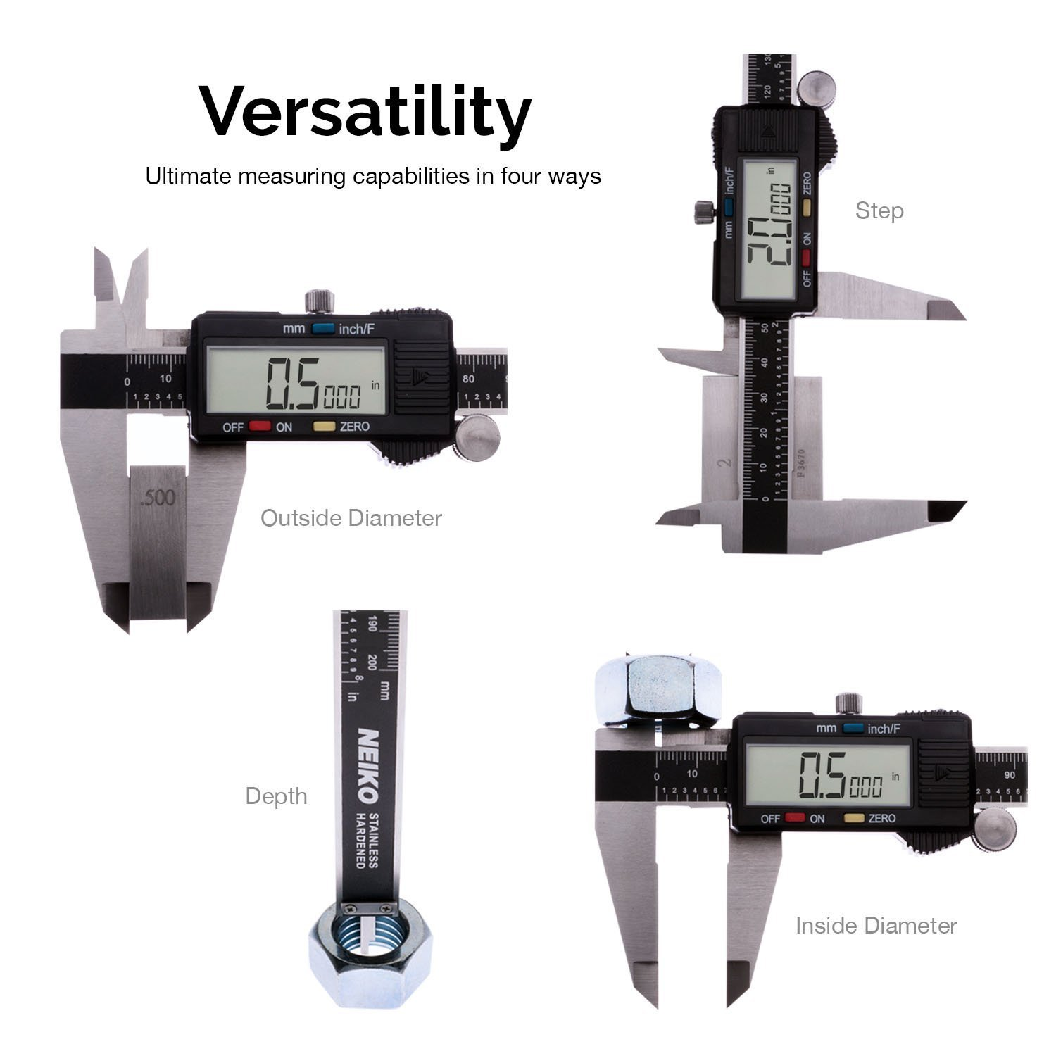 0-6 Inches Neiko 01419A Lightweight Electronic Digital Caliper Inch//Fraction//Millimeter Conversion