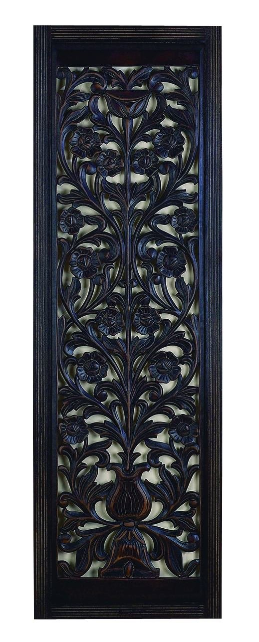 Benzara 32659 Ebony Black Hand Carved Wood Wall Decor Sculpture, 63H x 20W 63H x 20W