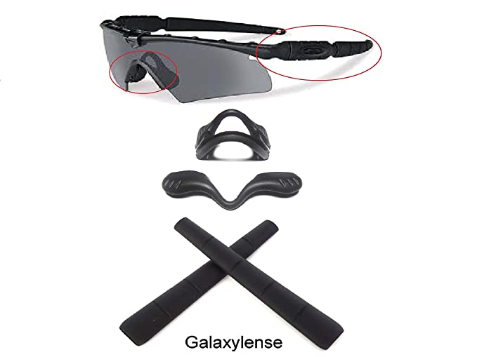 cb69e21dfb Amazon.com  Galaxy Nose Pad + Ear Socks Rubber Kits For Oakley Si Ballistic  M Frame 2.0 Z87 Sunglasses Black Color  Clothing