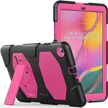SEYMAC Funda Samsung T510, Funda para Tab A 10.1 T510,Estuche a Prueba de Golpes Funda T510 con Función de Soporte Firme Funda Tablet Samsung T510 [SM-T510 SM-T515] (Rosa/Negro): Amazon.es: Informática