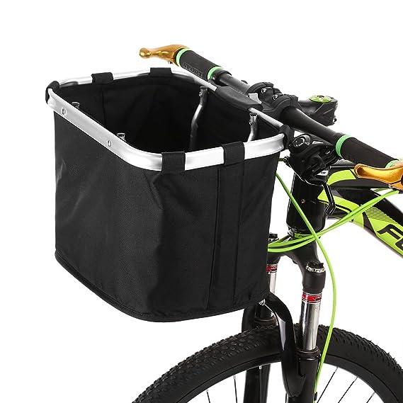 Lixada Bicicleta Cesta Delantera Plegable Desmontable Bicicleta Manillar Basket Pet Cat Dog Carrier Bolsa Aluminio Marco Manijas Superiores: Amazon.es: ...