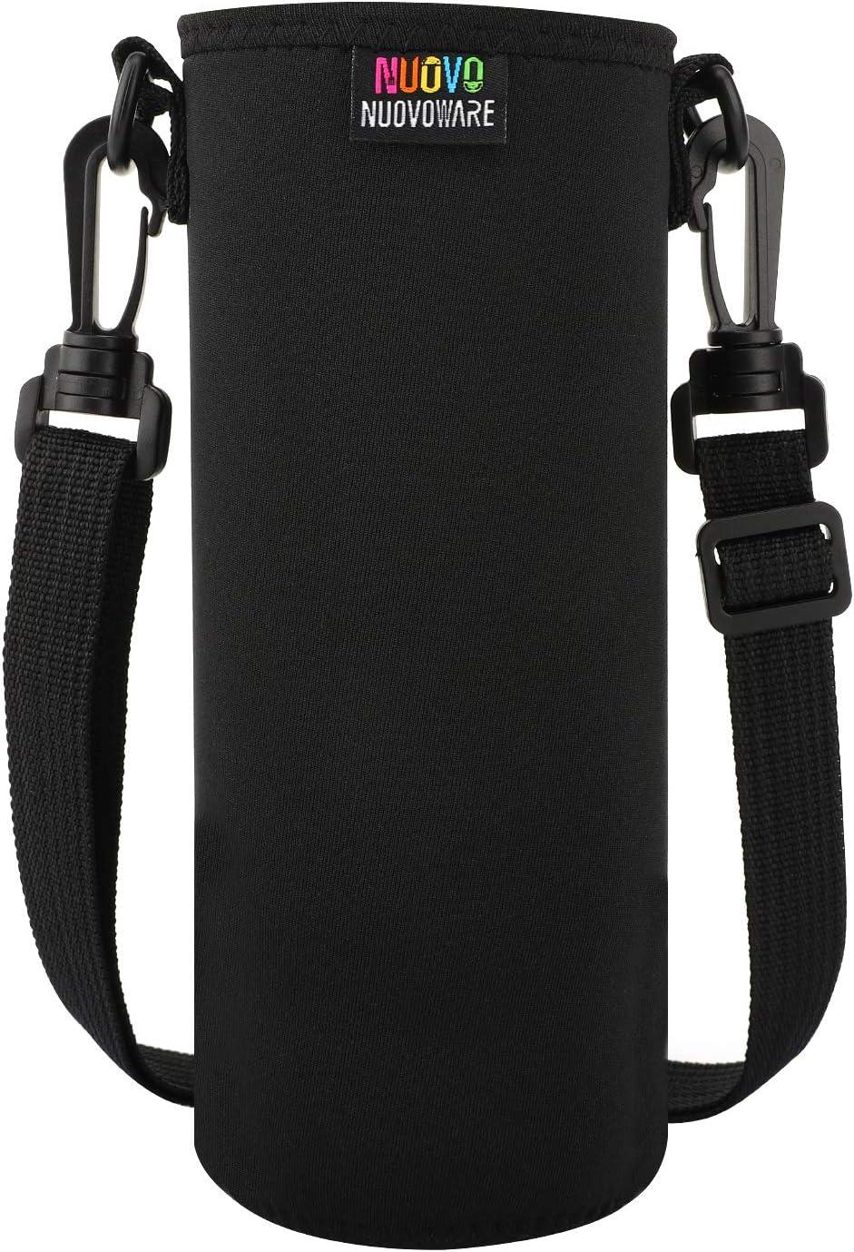 Nuovoware Water Bottle Carrier, Premium Neoprene Portable Insulated Water Bottle Holder Bag 1000ML with Adjustable Shoulder Strap Fit Stainless Steel, Plastic Bottles & More, Large Size, Black
