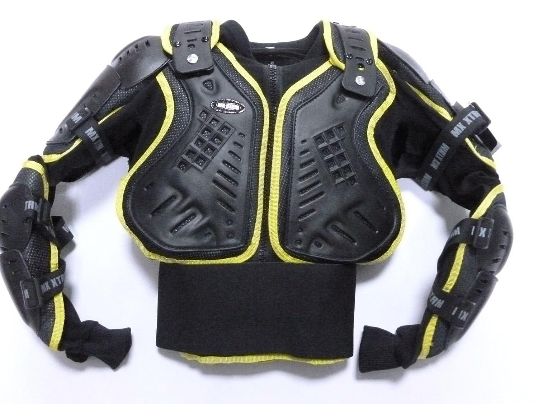 XTRM Motocross Bambini Pettorina Moto Corazza Quad PITBIKE MX Racing Giacca de Moto armatura, Nero Giallo (12 ANNI, XL) KID-ARMR-YLW
