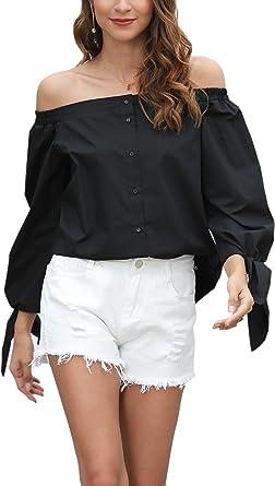 MessBebe Camisas Mujer Camiseta Manga Larga Mujer Blusas Sin Hombros Sexy Camisa Elegante Mujer Cuello Barco con Arco y Botones Primavera Verano: Amazon.es: Ropa y accesorios