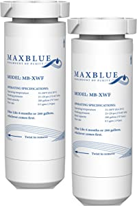 Maxblue XWF Refrigerator Water Filter, Compatible with GE GNE27JSMSS, GNE27JMMES, GNE27ESMSS, GNE27JGMBB, GNE27JGMWW, Pack of 2