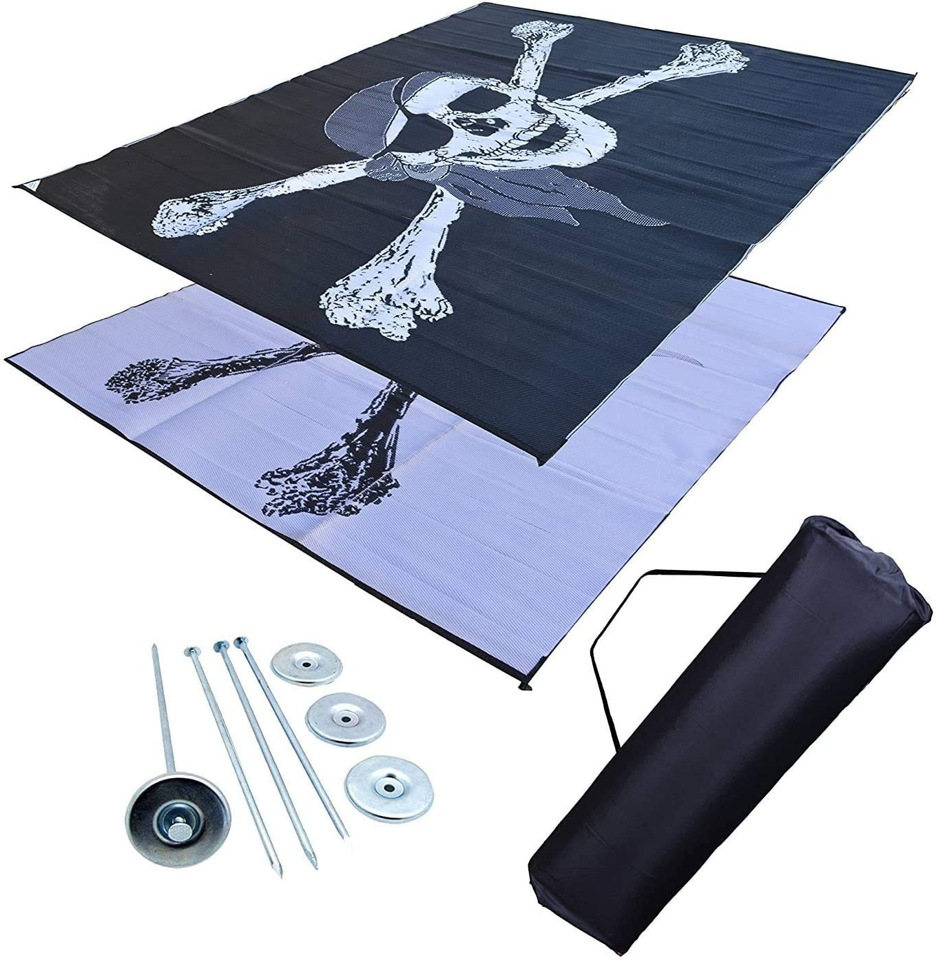Professional EZ Travel Collection Reversible RV Outdoor Rug for Backyards, Beaches, Camping Grounds, Patios, and More, Storage Bag and Mat Stakes Included, Pirate 9×12