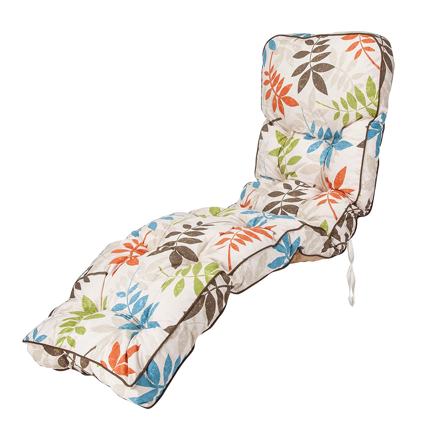 Replacement Classic Outdoor Garden Reclining Relaxer Chair Cushion - Choice of Prints (Alexandra Beige Leaf) Alfresia