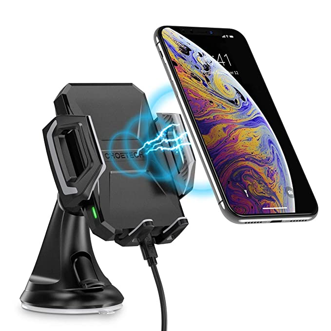 CHOETECH Fast Wireless Car Charger Mount, 7.5W Compatible with Apple iPhone XR/XS/XS Max/X/8, 10W for Galaxy S10/ Note 9/S9/S9+/ S8/ Note 8, 5W for ...