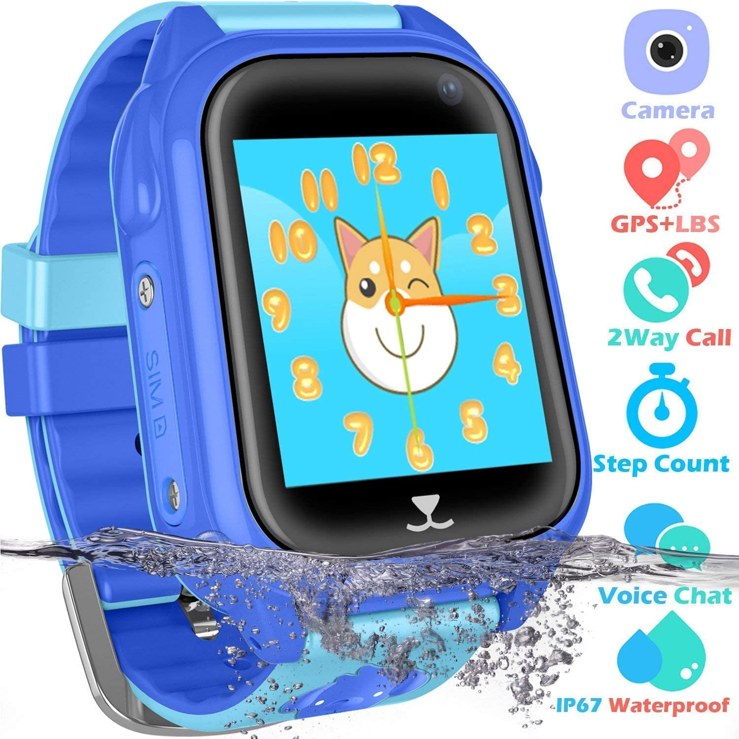 PTHTECHUS Kids Waterproof GPS Smart Watch for Boys Girls,Students Touch Screen Smartwatch with GPS Tracker Voice Chat One Key SOS for Help Clock ...