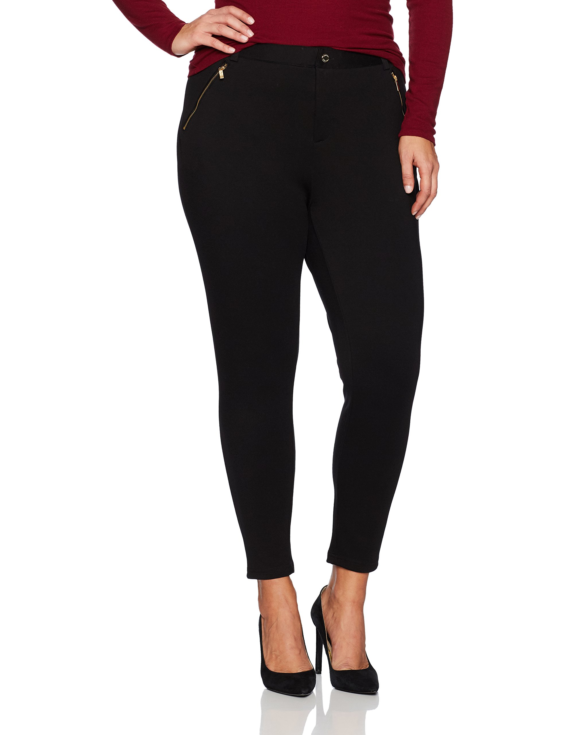 Calvin Klein Women's Plus Size Compression Pant with Zips, Black, 2X by Calvin Klein