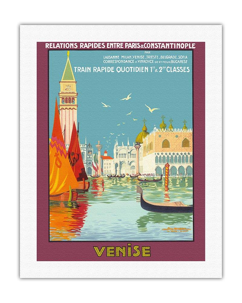 ヴェネツィア、イタリア ベネチアの大運河 毎日の高速列車 ビンテージな鉄道旅行のポスター によって作成された ジオ ドリバル c.1921 キャンバスアート 51cm x 66cm キャンバスアート(ロール) B01LWV48UT51cm x 66cm キャンバスアート(ロール)