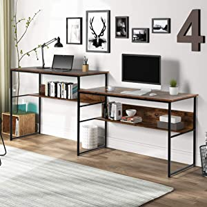 Zebery Two Person Computer Desk Adjustable Double Workstation Office Desk Writing Study Desk Extra Large Computer Desk with Open Storage Shelves for Home Office