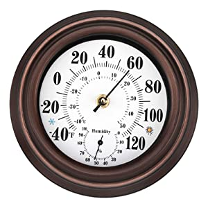 Lumuasky Indoor Outdoor Wall Thermometer Hygrometer, Temperature and Humidity for Home, Patio, Garden Stainless Steel Retro Wall Decor (8 inch)