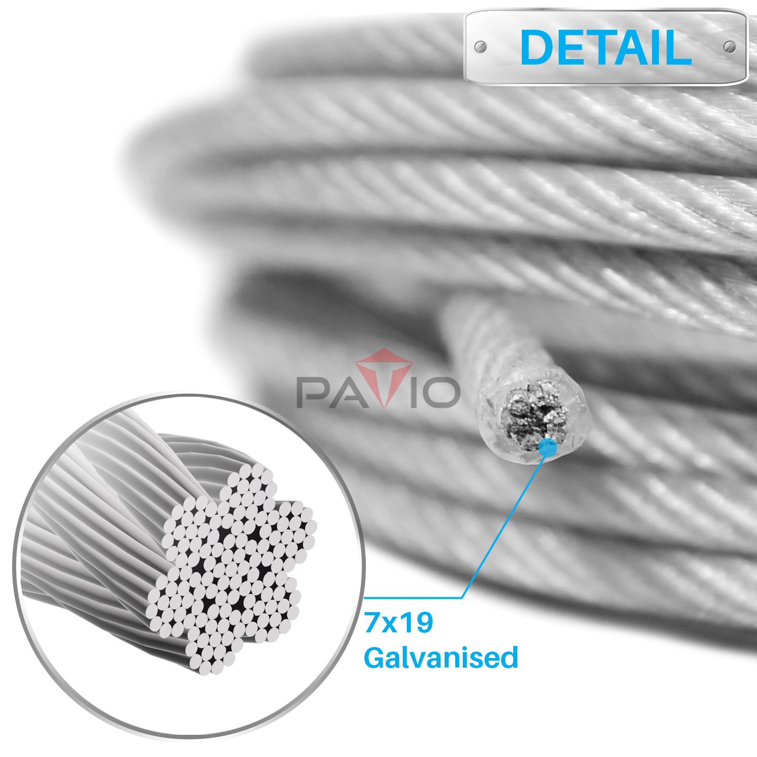 PATIO 6ft One-Way Wire Lock Wire Cable Sail Kits Triangle Sun Shade Sail  Pole Stand Post Heavy-Duty Awning Canopy Support Poles
