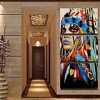 Pittura a olio misteriosa della celebrità della minoranza tela donna Painting Home Wall Decorazioni3pc/set.
