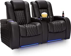 Seatcraft Diamante - Home Theater Seating - Power Recline - Top Grain Leather - Powered Headrests - Cupholders - USB Charging - Ambient Lighting - Arm Storage, Row of 2, Black