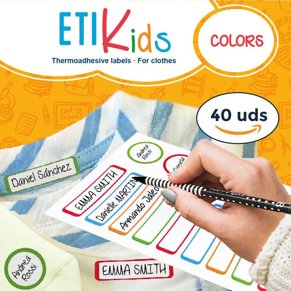 ETIKids 40 Etichette termoadesive (Color), da stirare, in 4 formati diversi per contrassegnare indumenti, vestiti dei bambini a scuola ed asilo. Haberdashery Online