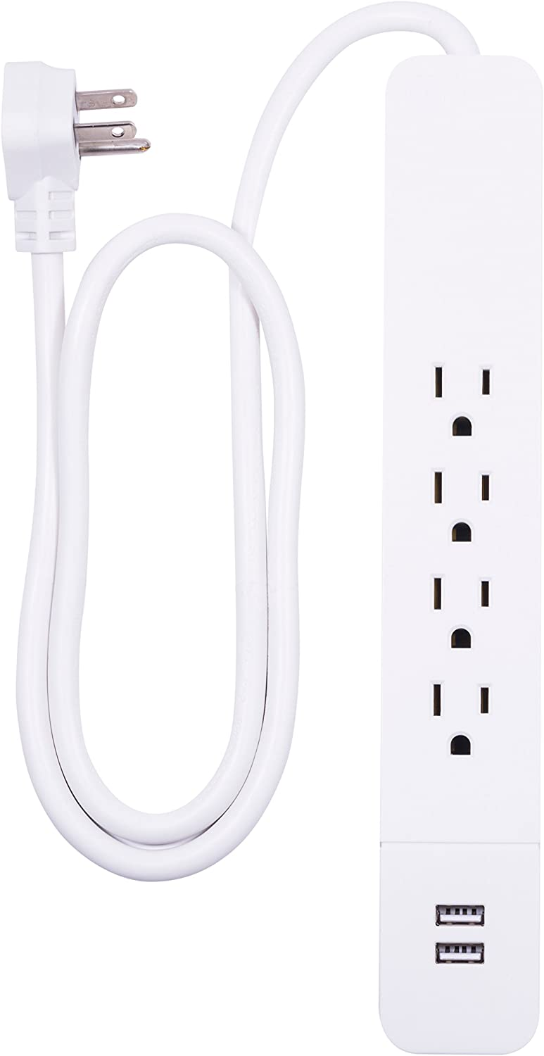 GE Power Strip Surge Protector, Charger, 4 Outlets, 2 USB Ports, Fast Charge, Flat Plug, Long Cord, 3ft, White, 37212