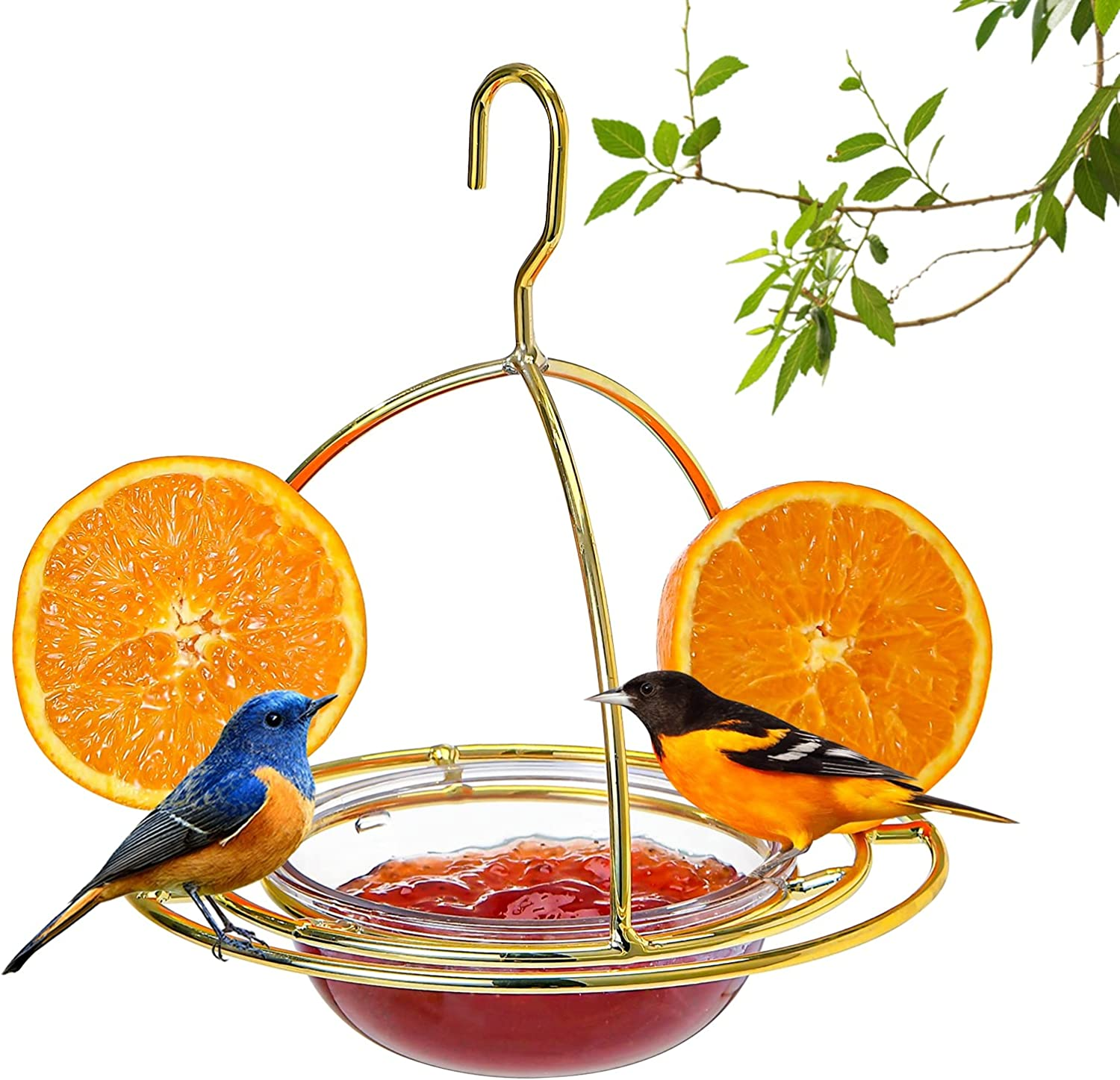 Hanizi Metal Hanging Oriole Bird Feeder with Fruit Holder Removable Drink Plasic for Garden Patio Outside