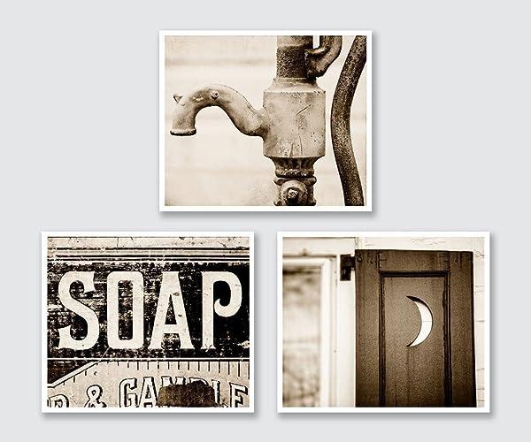 Amazon.com: Sepia Bathroom Photograph Set of 3, Rustic Bath Decor ...