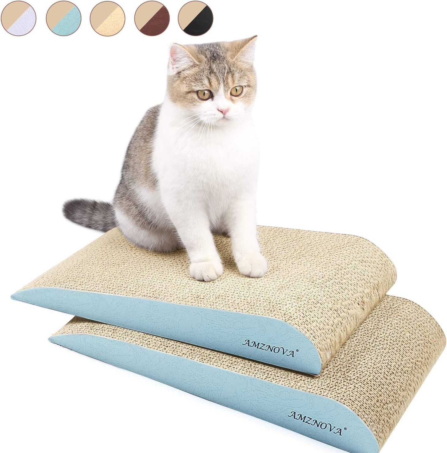 Amznova Cat Scratcher Ramp Inclined Corrugated Cardboard Kitty Scratching Pad Lounge With Bottom Catnip Included 2 Pack Baby Blue Amazon Co Uk Pet Supplies