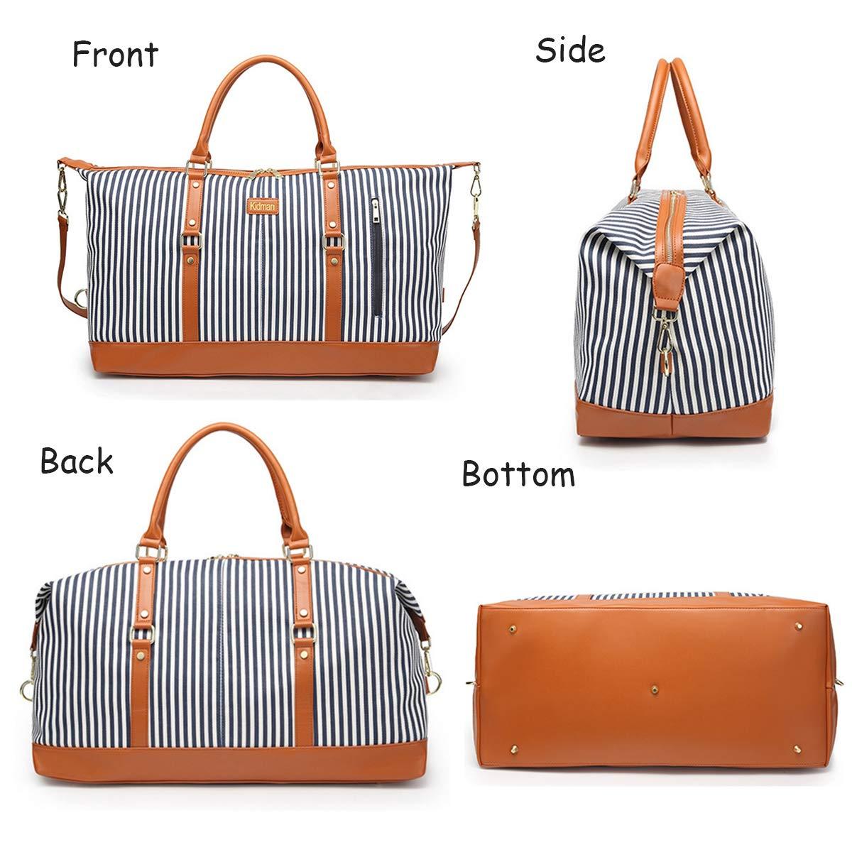 Collins12 Grande borsa da donna in tela, borsa da viaggio, borsa da viaggio con manico in pelle sintetica (strisce nere, 30 L)