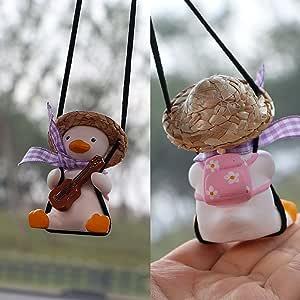 GUbaliYA Cute Swinging Duck Car Hanging Ornament, Multifunctional Car Pendant, Swing Duck Car Mirror, Swing Duck On Car Rear View Mirror Pendant, Swing Duck for Car Decoration Ornament Accessories (B)