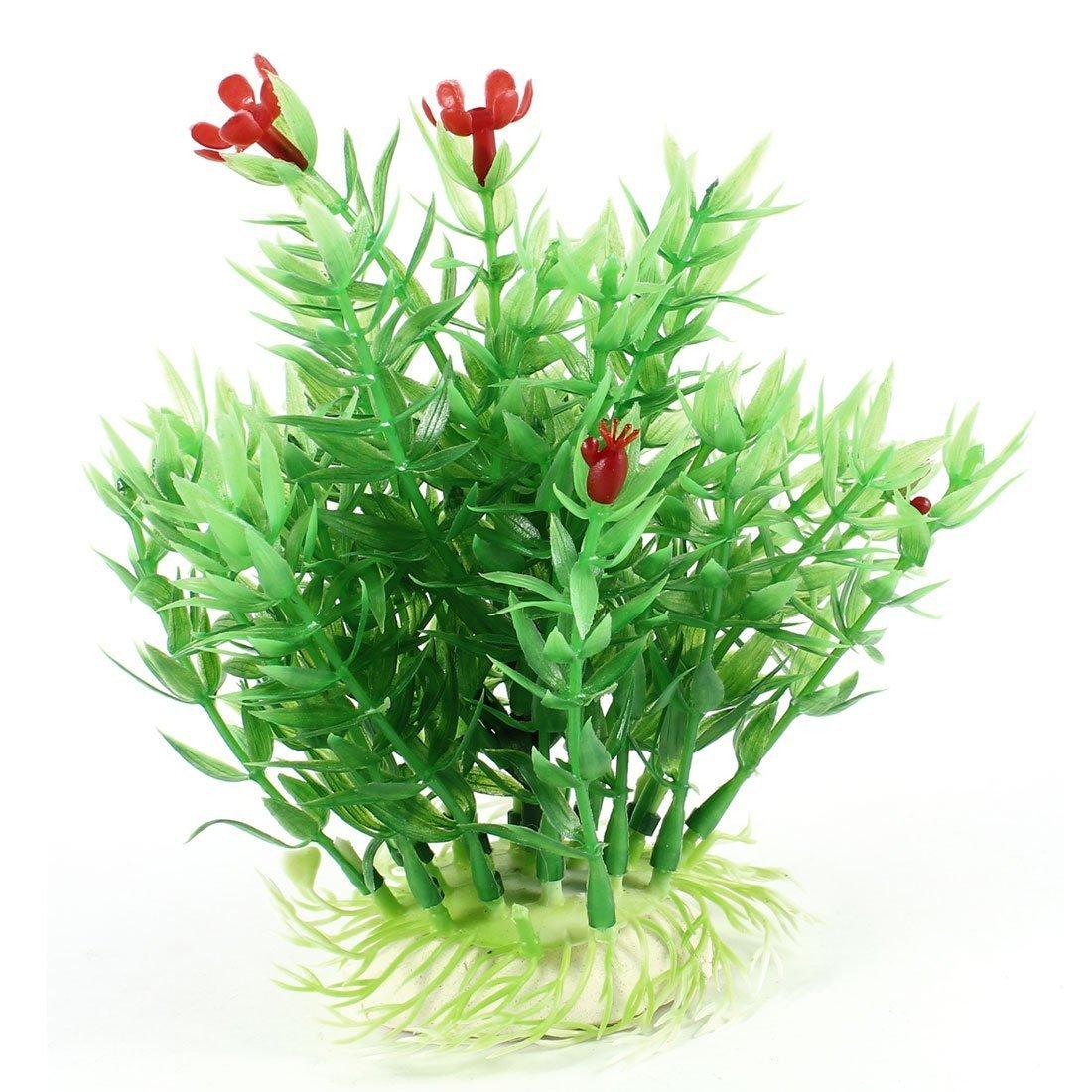 1Pc Aquarium Green Leaves Red Flowers Emulational Water Grass 5.7  High