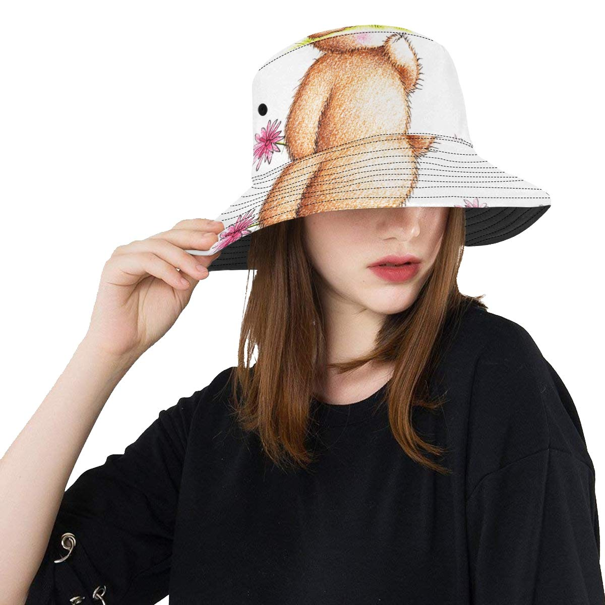 Women and Men with Customize Top Packable Fisherman Cap for Outdoor Travel Teens Cute Drawn Teddy Bear Flowers New Summer Unisex Cotton Fashion Fishing Sun Bucket Hats for Kid