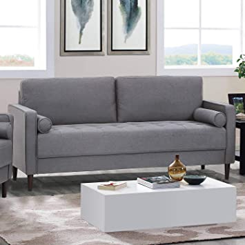Amazon Com Lifestyle Solutions Lexington Sofa In Gray Kitchen Dining