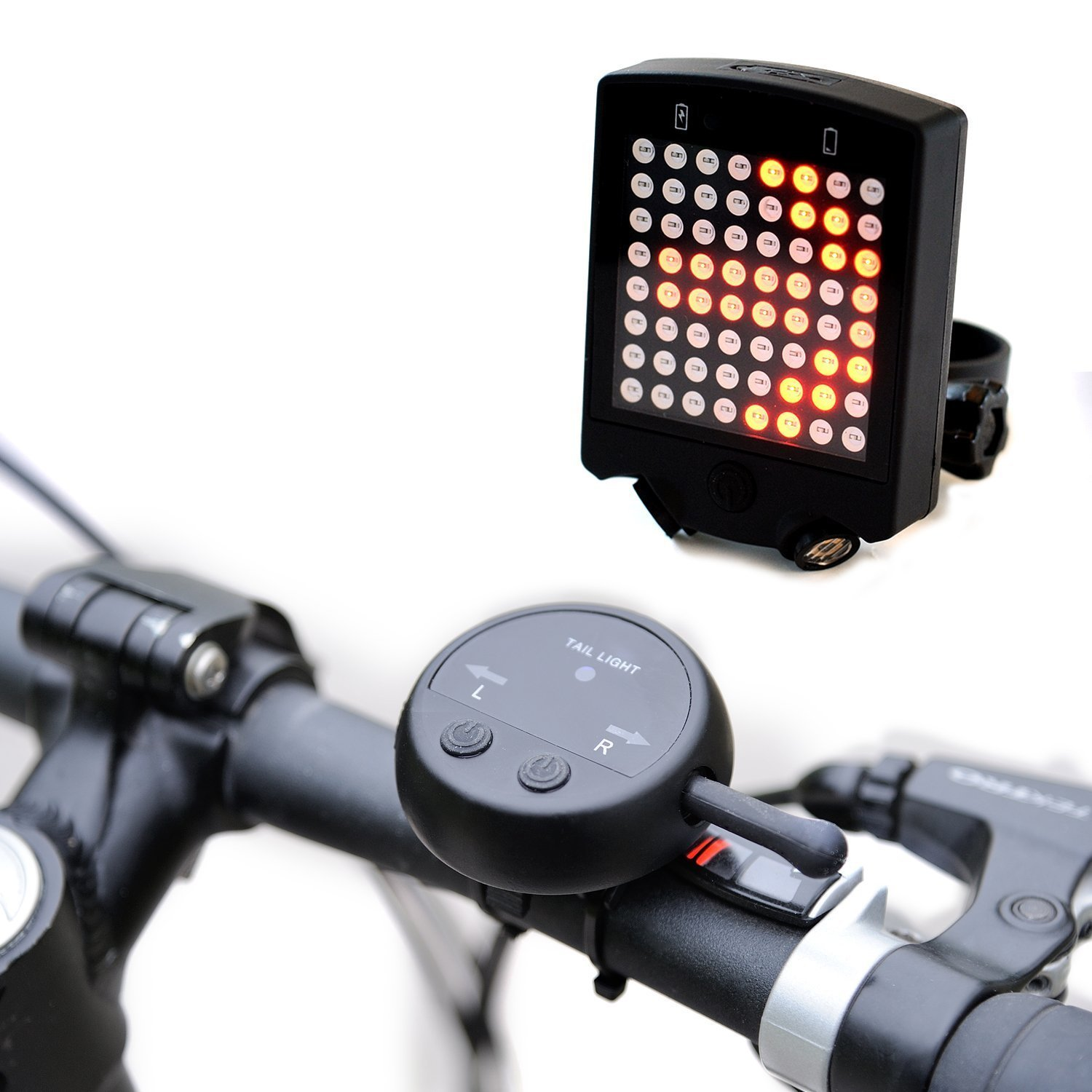 Bright 64 LED Wireless Turn Signals Bike Light- Rechargeable Led Bike Taillight- Perfect Safety Bicycle Light for Long Distance Cycling Warning Lights