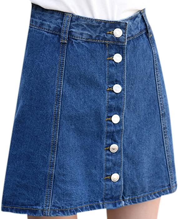 612328d459 Luodemiss Women's Summer Retro A-Line Denim Skirt Front Button Blue Jeans  Attached Bottom Shorts