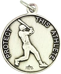 Sterling Silver Saint Christopher Sports Athlete Medal Pendant, 15/16 Inch
