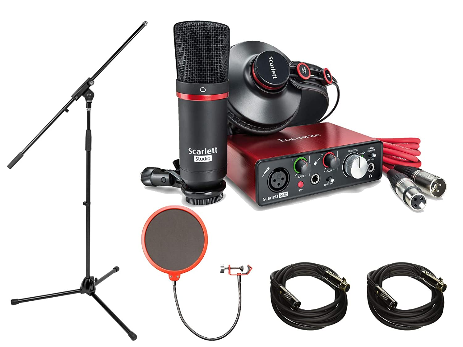 Focusrite Scarlett Solo Studio Pack 2nd Gen & Recording Bundle w/ Pro Tools, Includes, Universal Pop Filter Microphone Wind Screen,10 Premier Series XLR Male-XLR Female 16AWG Cable&Microphone Stand E1FCRSCARSOLOSTD