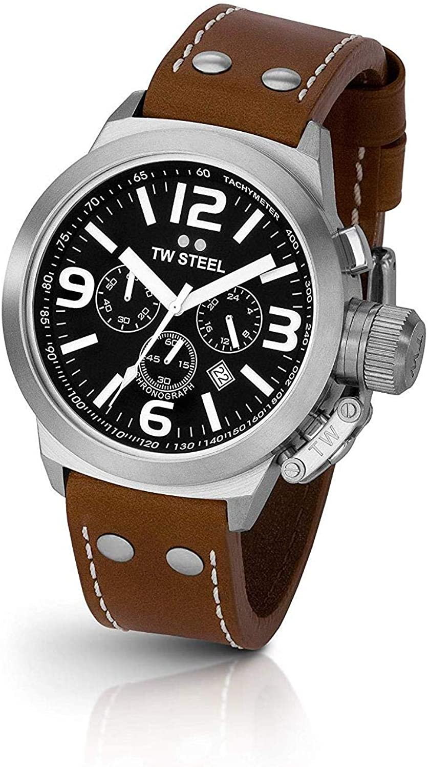 TW Steel Men s TW6 Canteen Black Dial Chronograph Watch