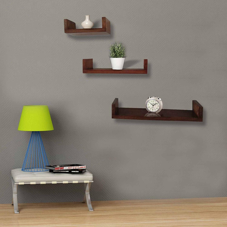 Aprodz Mango Wood Recta Set Of 3 Floating Wall Shelf For Living Room