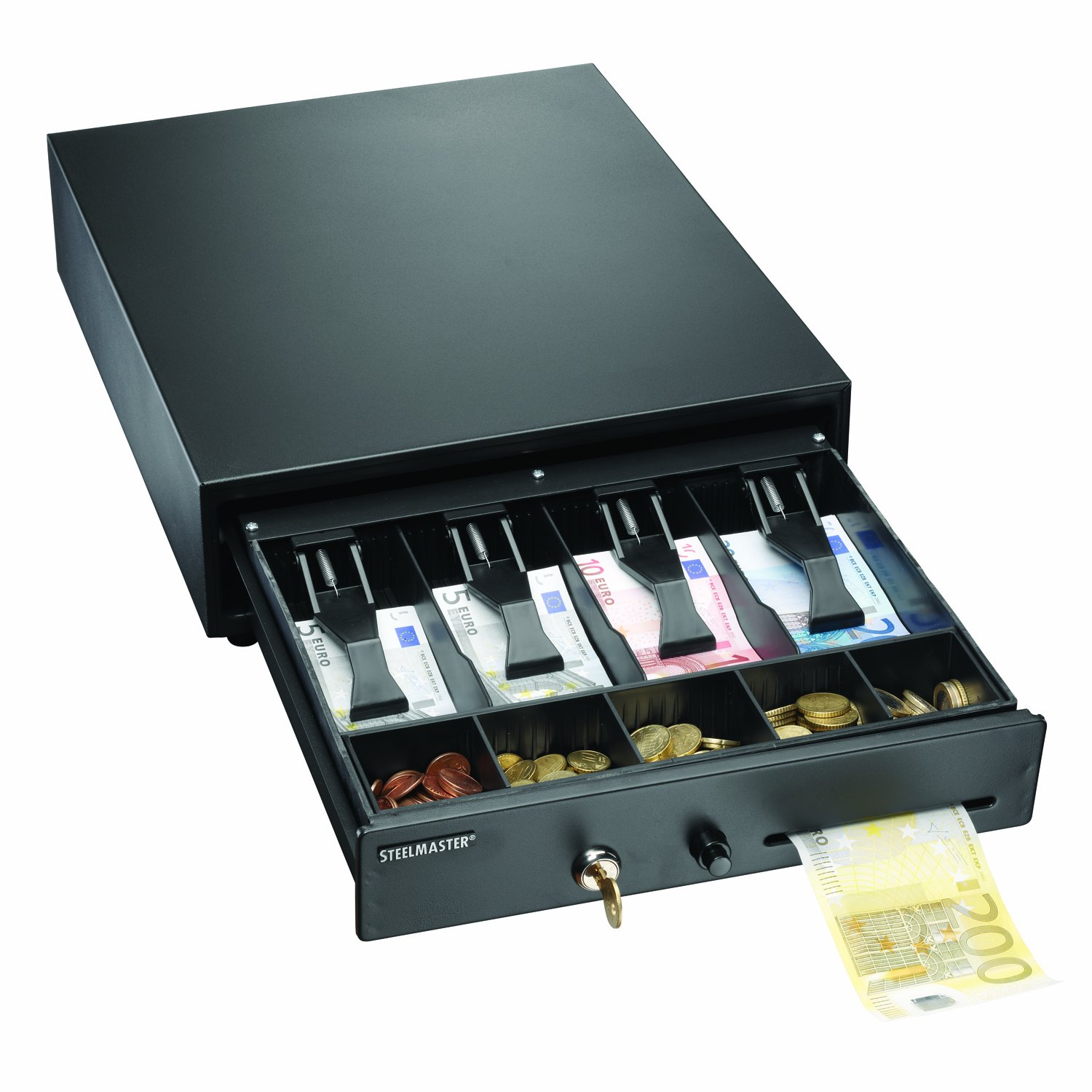 STEELMASTER 1046 Compact Steel Cash Drawer with Disc Tumbler Lock, Includes 2 Keys, Touch Button Release, Removable Tray, Black (225104604) MMF225104604