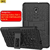 Taslar Hybrid Design with Stand Feature Detachable Dual Layer Protective Shell Hard Back Case For Samsung Galaxy Tab A 2017 SM-T385NZKAINS (Black)