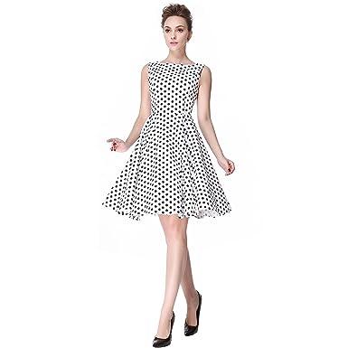 da86819d19659 Heroecol Womens Vintage 1950s Dresses Boat Neck Sleeveless 50s 60s Style  Retro Swing Cotton Dress Size