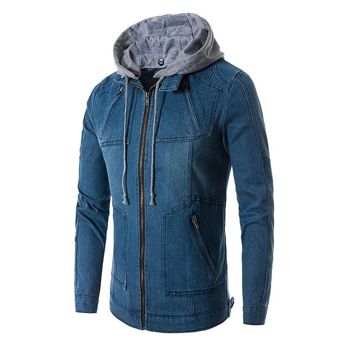 OMUUTR Herren Übergangsjacke Jeansjacke Denim Kapuzen Jacke Hoodie  Sweatjacke Freizeitjacke Jacket Wintermantel Warme Abnehmbarer Hut Blau f7136a982c