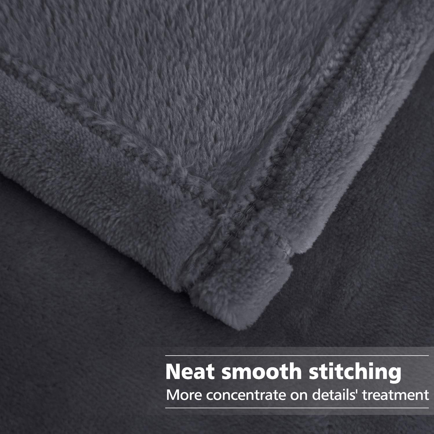 HOMEIDEAS Soft Queen Size 380GSM Lightweight Summer Blanket All Season Luxury Warm Fuzzy Microplush Fleece Blankets for Bed Sofa Couch 90 x 90 Inches,Light Gray