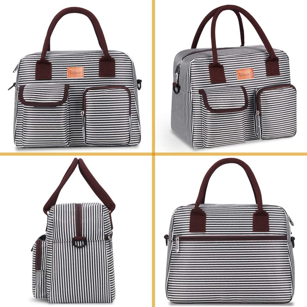 black/&white TianQin WY Lunch Bags for Women with Adjustable Shoulder Strap Insulated Lunch Bag Box Women Lunch Tote Bag Cooler Bag Container Lunch Pail Bags for Work Picnic Sports Travel